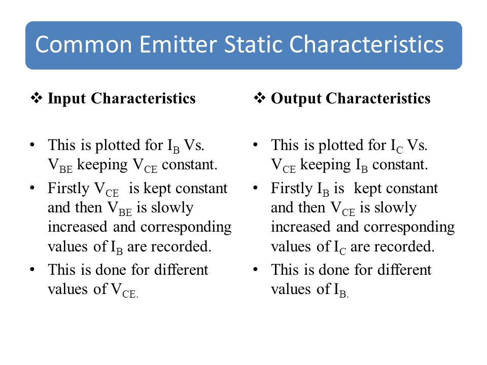 Common Emitter Static Characteristics  Input Characteristics This is plotted for I B Vs.