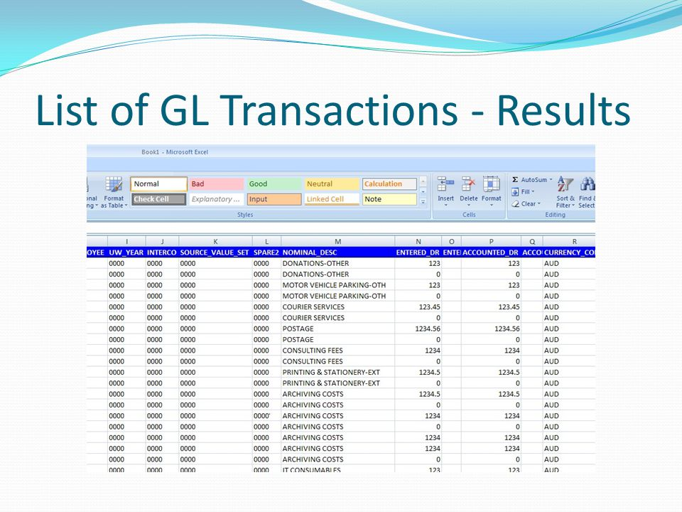 List of GL Transactions - Results