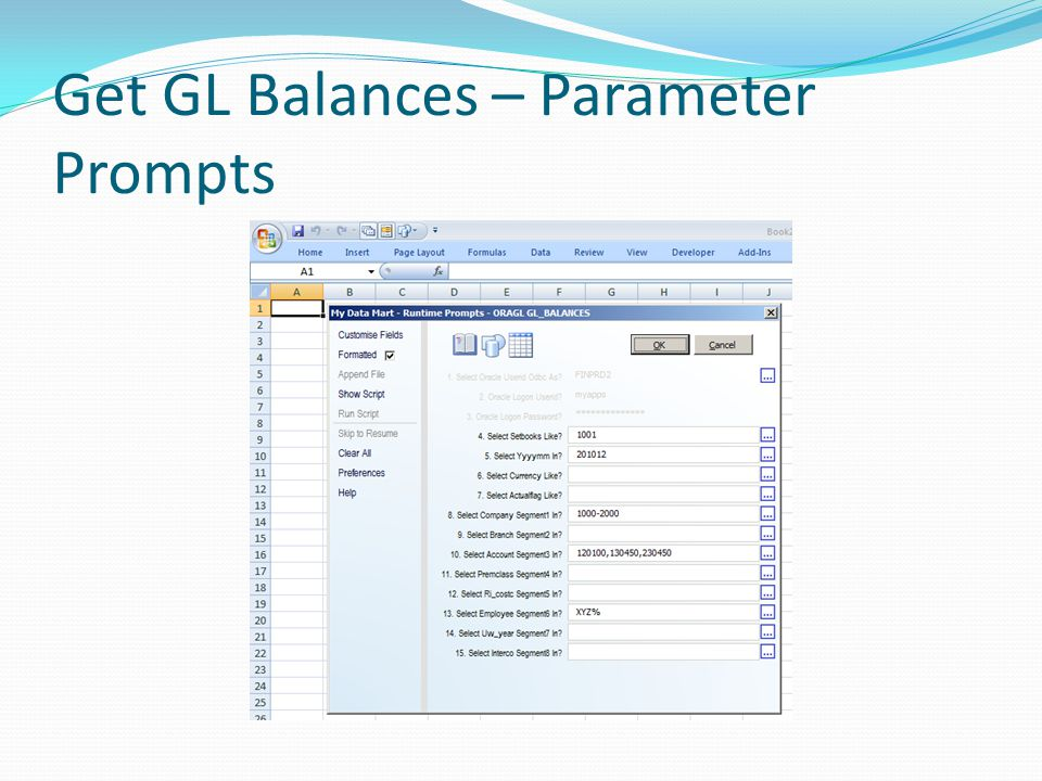 Get GL Balances – Parameter Prompts