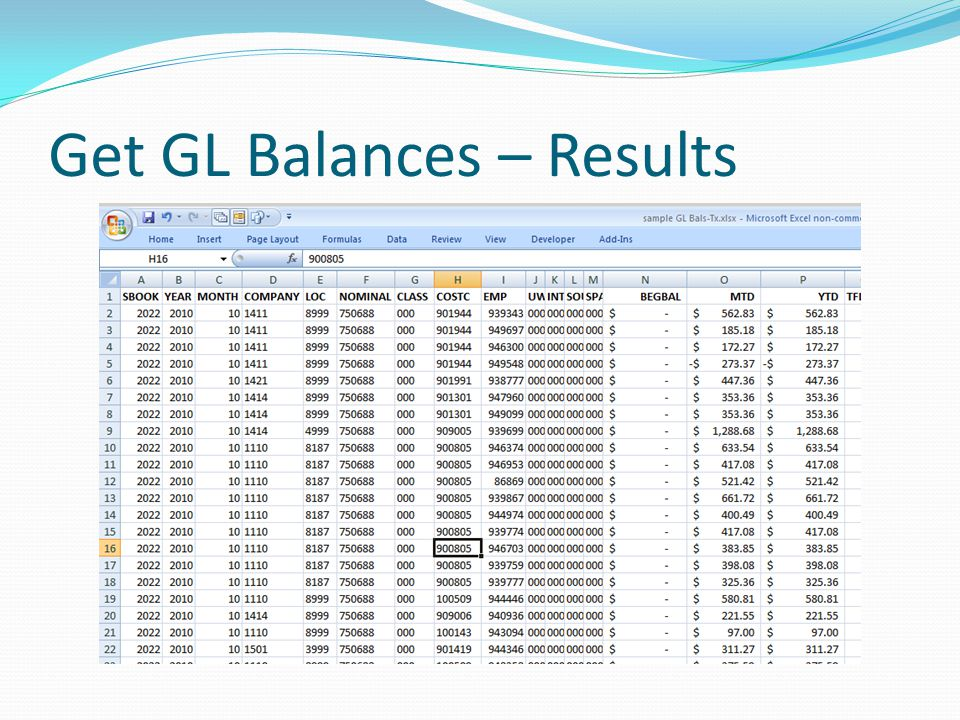 Get GL Balances – Results