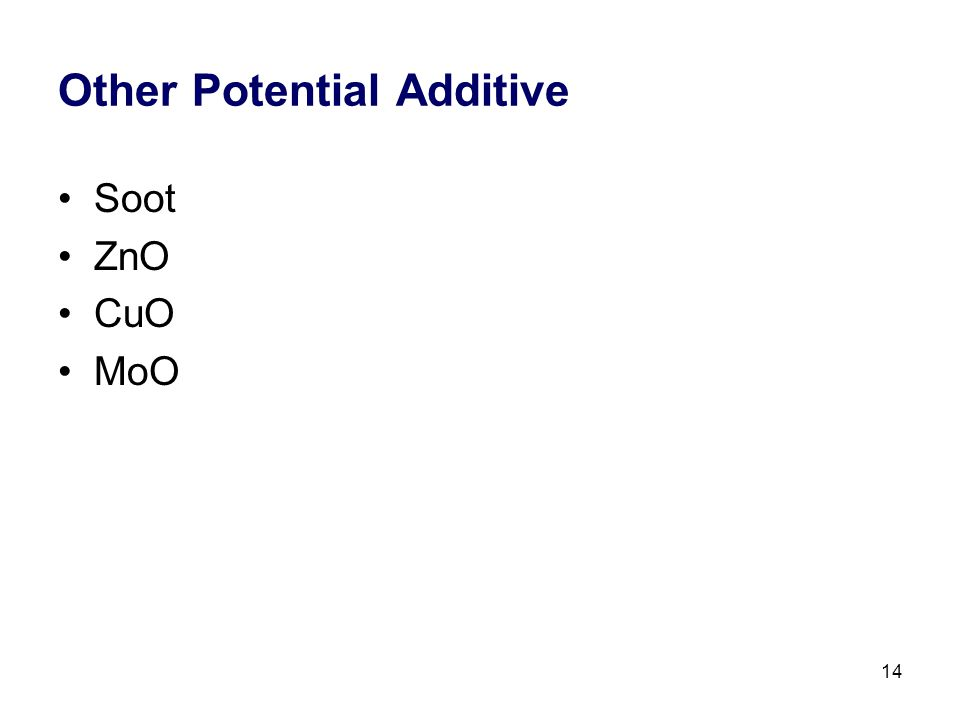 14 Other Potential Additive Soot ZnO CuO MoO