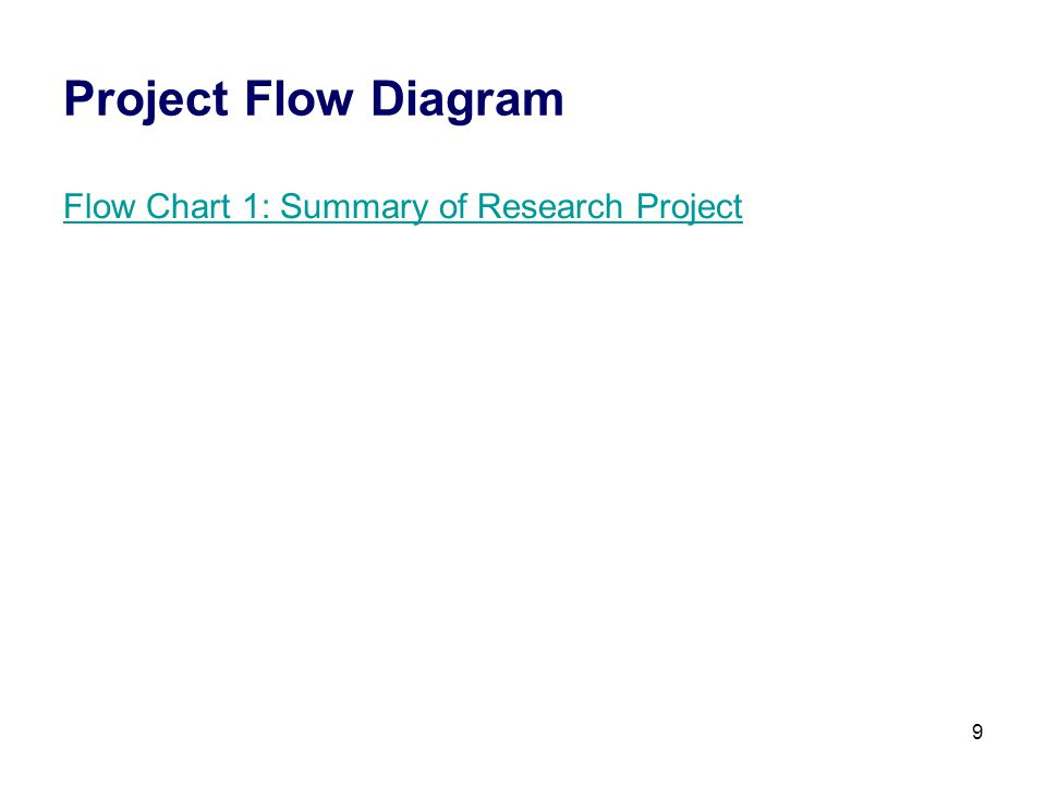 9 Project Flow Diagram Flow Chart 1: Summary of Research Project