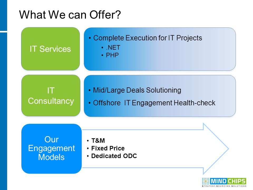 What We can Offer? Mid/Large Deals Solutioning Offshore IT Engagement Health-check Mid/Large Deals Solutioning Offshore IT Engagement Health-check IT