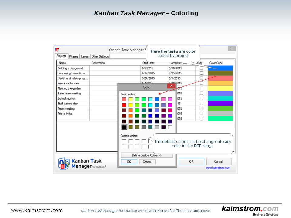 Here the tasks are color coded by project The default colors can be change into any color in the RGB range Kanban Task Manager ‒ Coloring Kanban Task