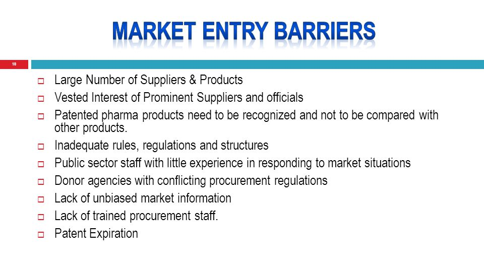 10  Large Number of Suppliers & Products  Vested Interest of Prominent Suppliers and officials  Patented pharma products need to be recognized and not to be compared with other products.