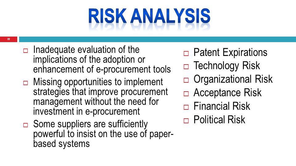 22  Inadequate evaluation of the implications of the adoption or enhancement of e-procurement tools  Missing opportunities to implement strategies that improve procurement management without the need for investment in e-procurement  Some suppliers are sufficiently powerful to insist on the use of paper- based systems  Patent Expirations  Technology Risk  Organizational Risk  Acceptance Risk  Financial Risk  Political Risk