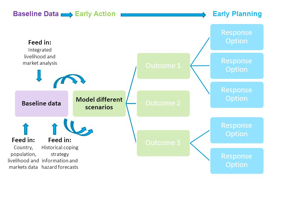 Baseline data HEA LIAS, Dashboard and PCMMA Outcome 1Response Option Outcome 2Outcome 3Response Option This yearModelled Feed in: Country, population, livelihood and markets data Feed in: Historical coping strategy information and hazard forecasts Model different scenarios