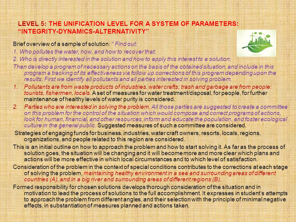 LEVEL 5: THE UNIFICATION LEVEL FOR A SYSTEM OF PARAMETERS: INTEGRITY-DYNAMICS-ALTERNATIVITY Brief overview of a sample of solution: Find out: 1.
