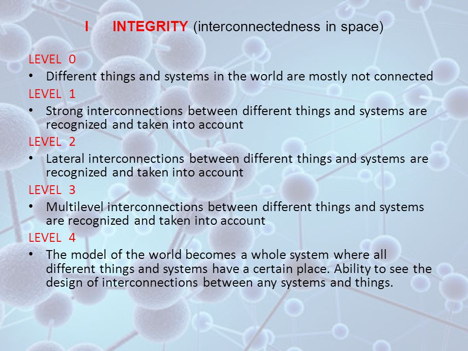 I INTEGRITY (interconnectedness in space) LEVEL 0 Different things and systems in the world are mostly not connected LEVEL 1 Strong interconnections between different things and systems are recognized and taken into account LEVEL 2 Lateral interconnections between different things and systems are recognized and taken into account LEVEL 3 Multilevel interconnections between different things and systems are recognized and taken into account LEVEL 4 The model of the world becomes a whole system where all different things and systems have a certain place.