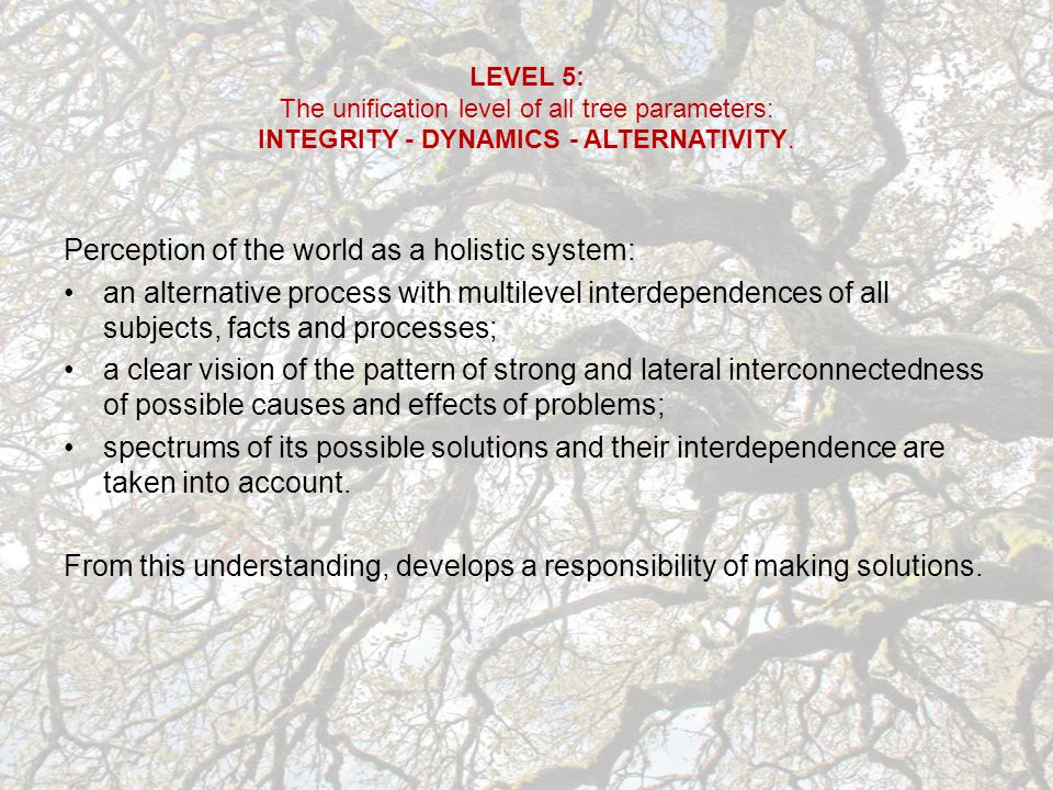 LEVEL 5: The unification level of all tree parameters: INTEGRITY - DYNAMICS - ALTERNATIVITY.