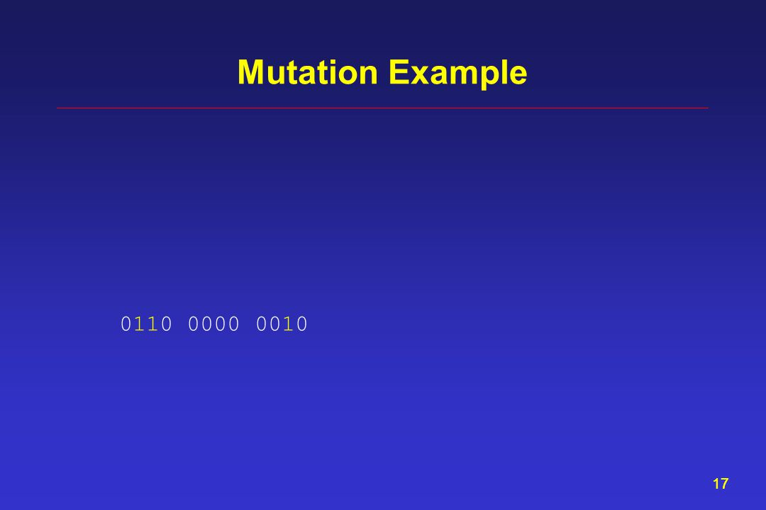 17 Mutation Example 0110 0000 0010