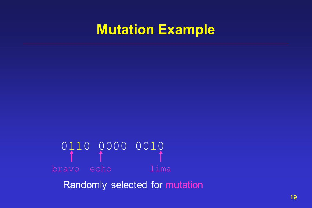 19 Mutation Example Randomly selected for mutation 0110 0000 0010 bravoecholima