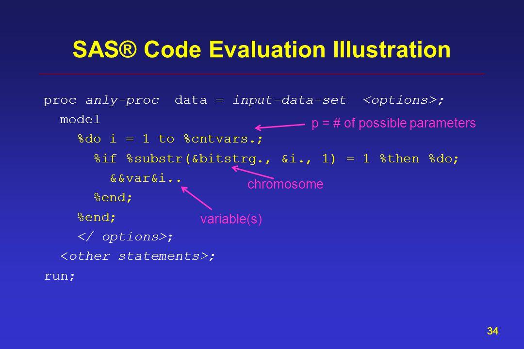 34 SAS® Code Evaluation Illustration proc anly-proc data = input-data-set ; model %do i = 1 to %cntvars.; %if %substr(&bitstrg., &i., 1) = 1 %then %do; &&var&i..