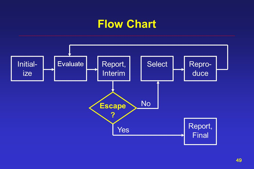 49 Flow Chart Report, Interim Evaluate SelectInitial- ize Repro- duce Escape Report, Final Yes No