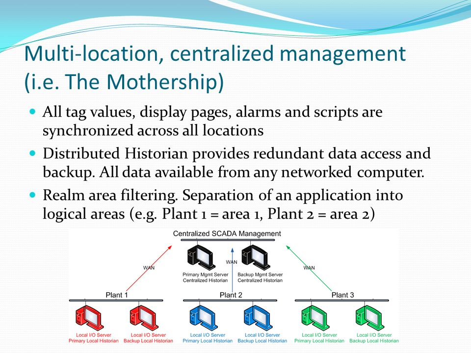 Multi-location, centralized management (i.e.