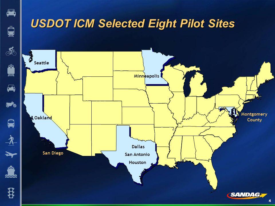 4 USDOT ICM Selected Eight Pilot Sites