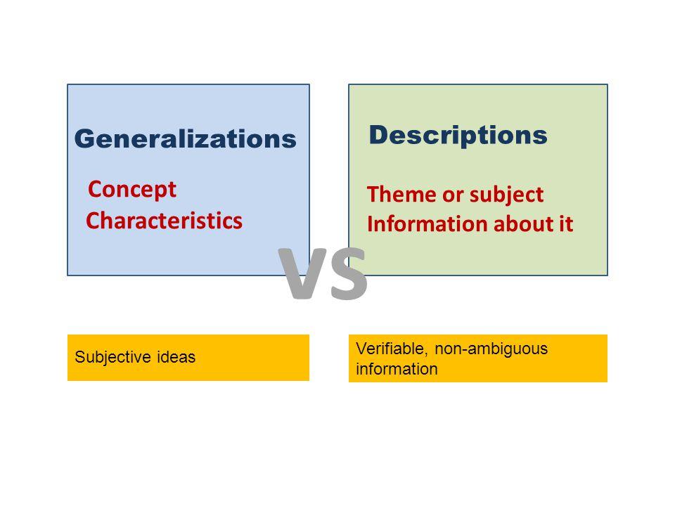 Generalizations Concept Characteristics Descriptions Theme or subject Information about it vs Subjective ideas Verifiable, non-ambiguous information