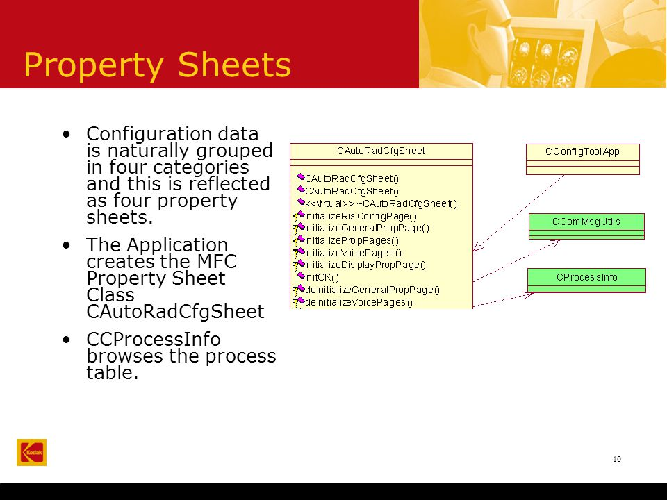10 Property Sheets Configuration data is naturally grouped in four categories and this is reflected as four property sheets.
