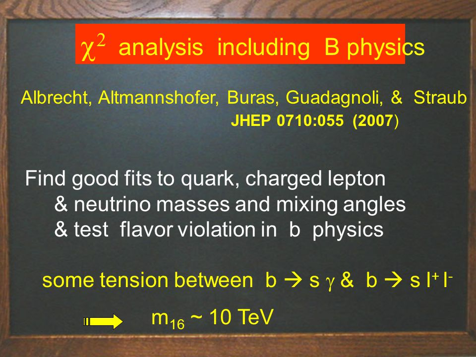 Title of talk32    analysis  including B physics Albrecht, Altmannshofer, Buras, Guadagnoli, & Straub JHEP 0710:055 (2007) Find good fits to quark, charged lepton & neutrino masses and mixing angles & test flavor violation in b physics some tension between b  s  & b  s l + l - m 16 ~ 10 TeV