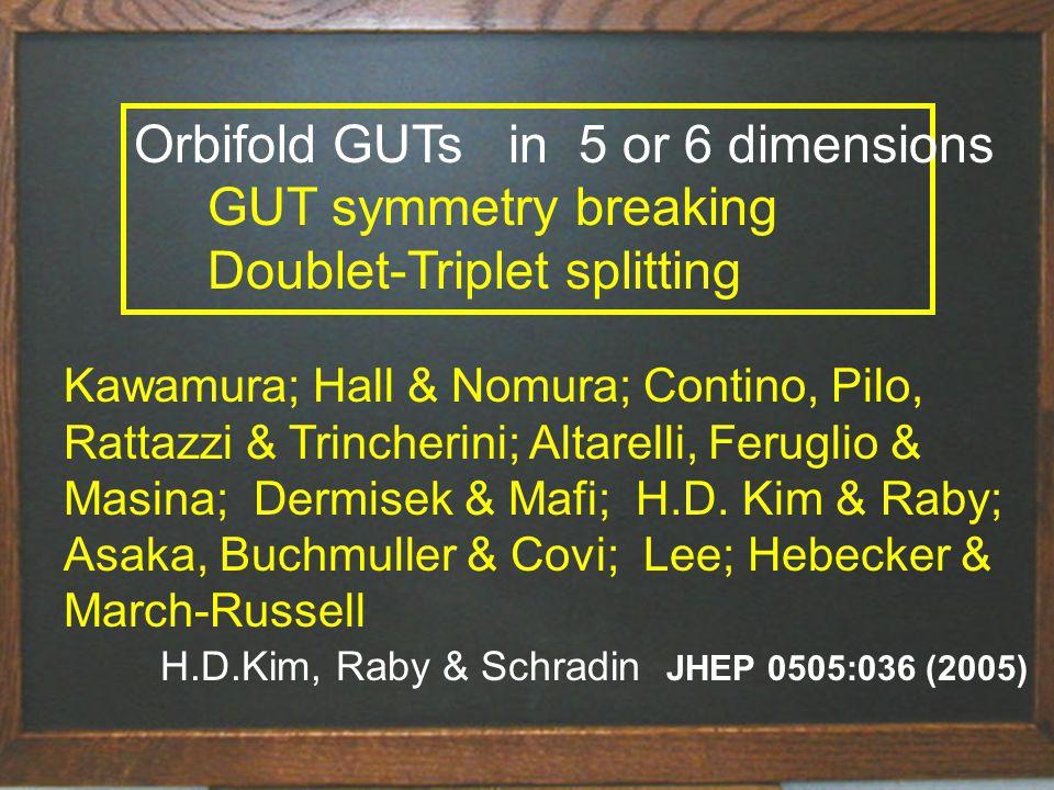 Title of talk40 Orbifold GUTs in 5 or 6 dimensions GUT symmetry breaking Doublet-Triplet splitting Kawamura; Hall & Nomura; Contino, Pilo, Rattazzi & Trincherini; Altarelli, Feruglio & Masina; Dermisek & Mafi; H.D.