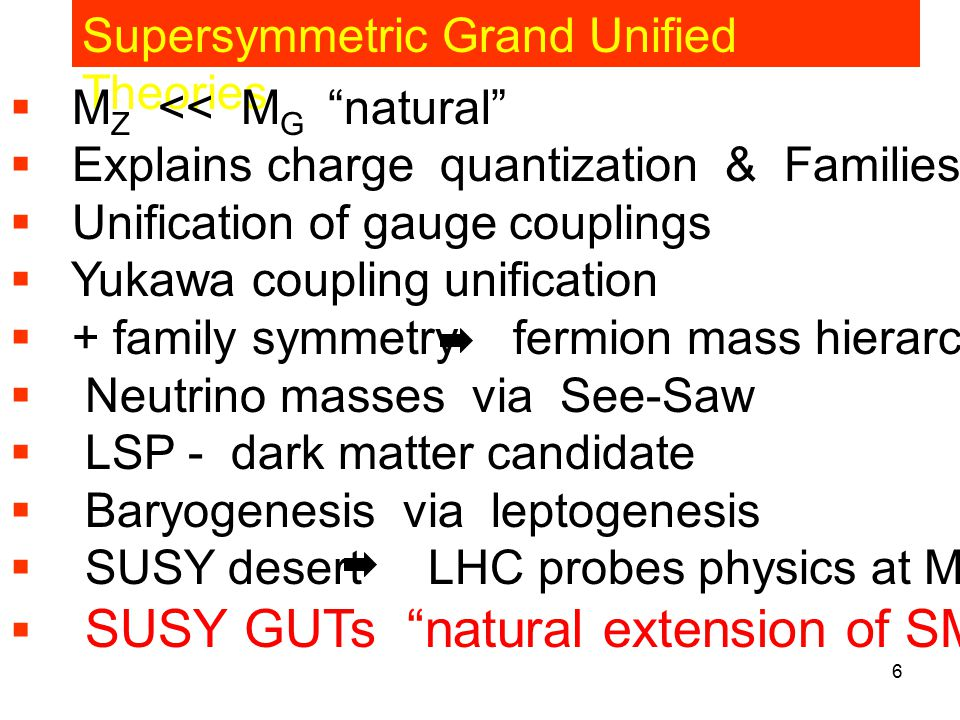 Title of talk6 Supersymmetric Grand Unified Theories  M Z << M G natural  Explains charge quantization & Families  Unification of gauge couplings  Yukawa coupling unification  + family symmetry fermion mass hierarchy  Neutrino masses via See-Saw  LSP - dark matter candidate  Baryogenesis via leptogenesis  SUSY desert LHC probes physics at M Pl USY GUTs natural extension of SM