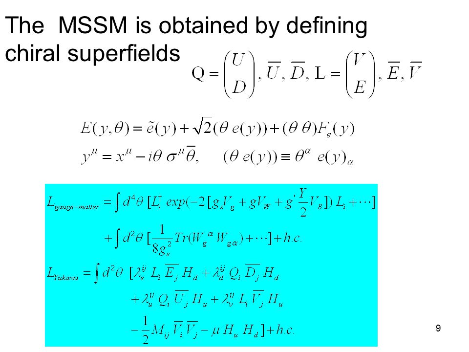 Title of talk9 The MSSM is obtained by defining chiral superfields