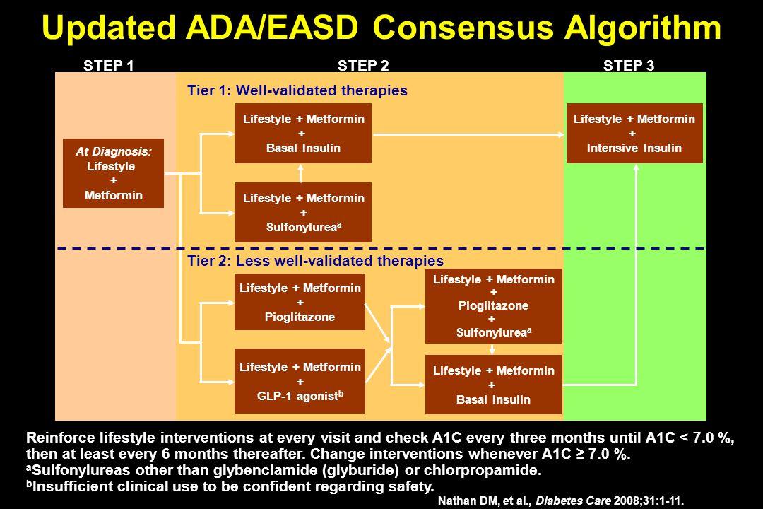 Updated ADA/EASD Consensus Algorithm Nathan DM, et al., Diabetes Care 2008;31:1-11. At Diagnosis: Lifestyle + Metformin Lifestyle + Metformin + Sulfon