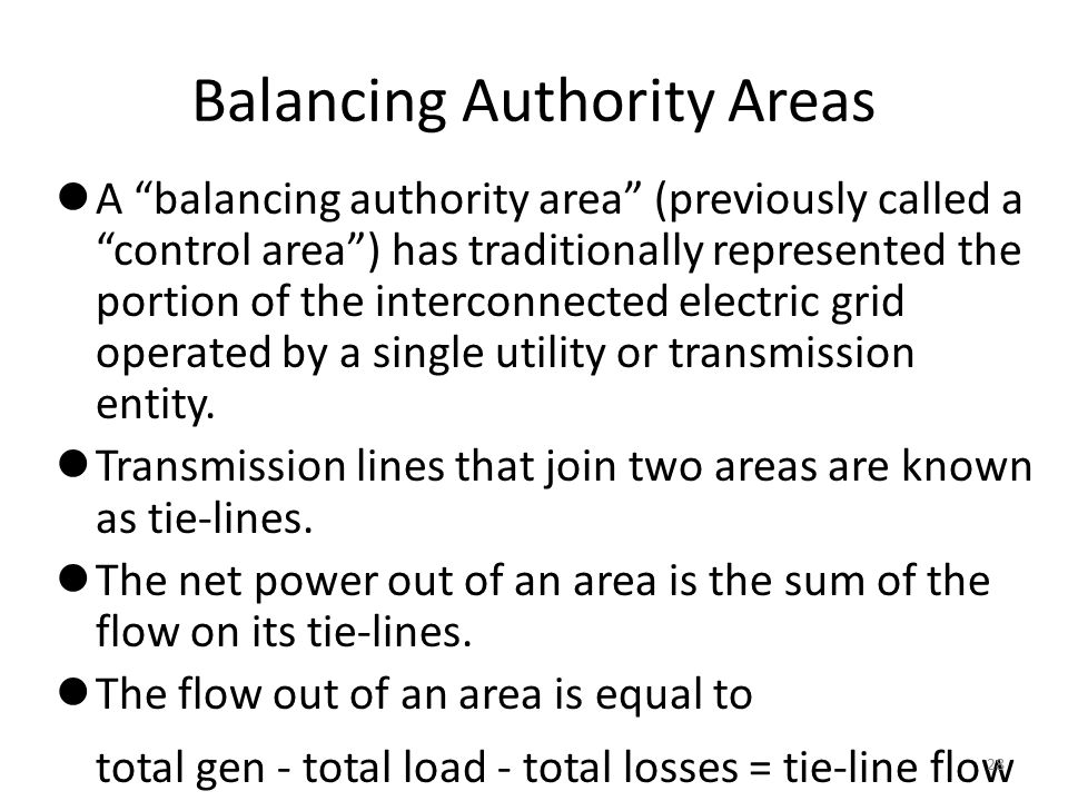 Balancing Authority Areas A balancing authority area (previously called a control area ) has traditionally represented the portion of the interconnected electric grid operated by a single utility or transmission entity.