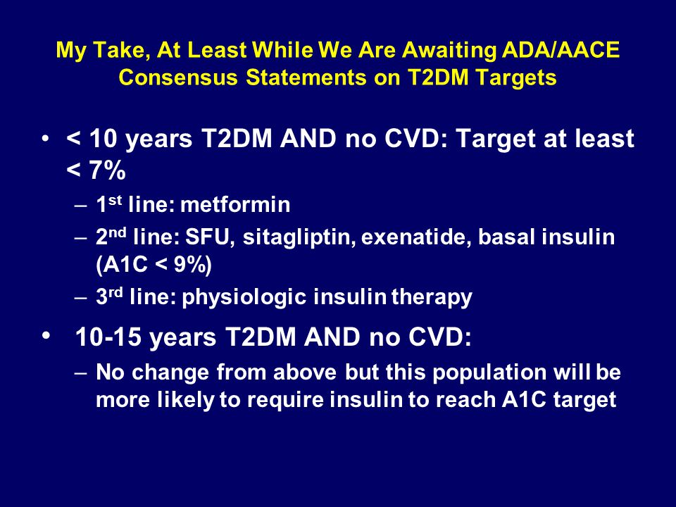 My Take, At Least While We Are Awaiting ADA/AACE Consensus Statements on T2DM Targets < 10 years T2DM AND no CVD: Target at least < 7% –1 st line: met