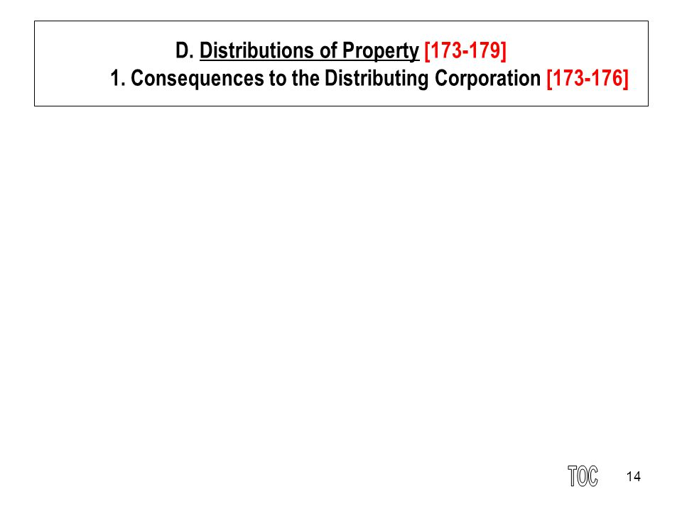 14 D. Distributions of Property [173-179] 1. Consequences to the Distributing Corporation [173-176]