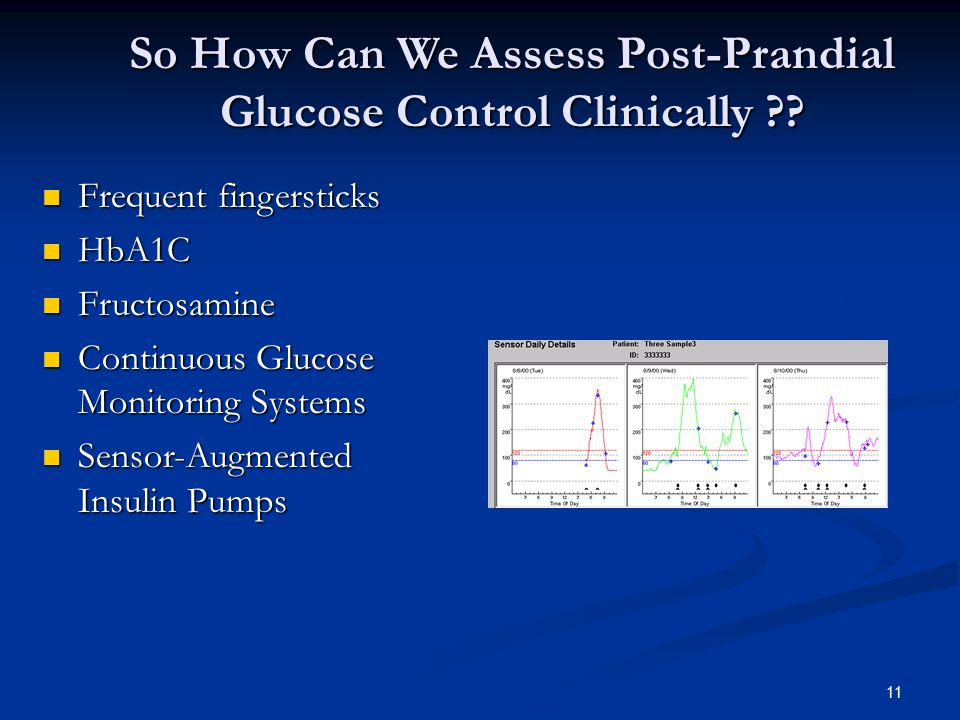 11 So How Can We Assess Post-Prandial Glucose Control Clinically ?? Frequent fingersticks Frequent fingersticks HbA1C HbA1C Fructosamine Fructosamine