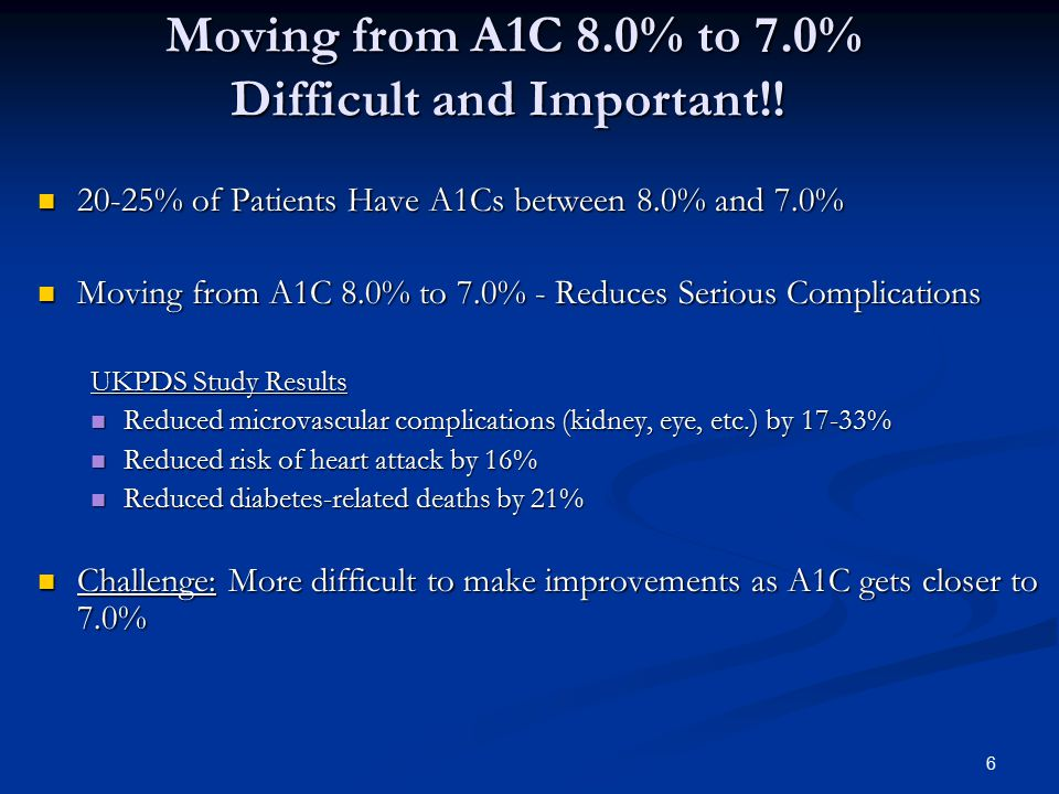 6 Moving from A1C 8.0% to 7.0% Difficult and Important!! Moving from A1C 8.0% to 7.0% Difficult and Important!! 20-25% of Patients Have A1Cs between 8