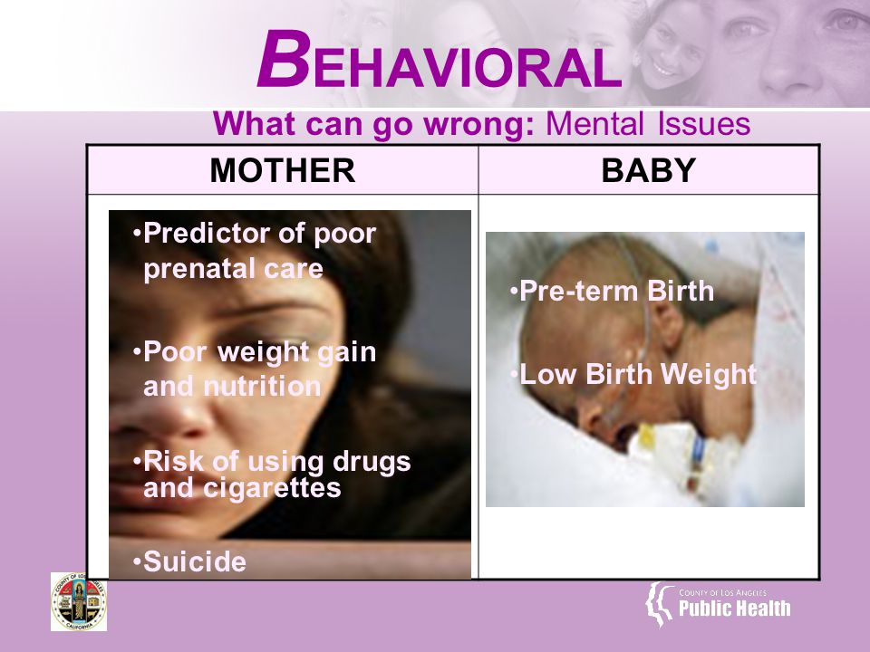 What can go wrong: Mental Issues B EHAVIORAL MOTHERBABY Predictor of poor prenatal care Poor weight gain and nutrition Risk of using drugs and cigarettes Suicide Pre-term Birth Low Birth Weight