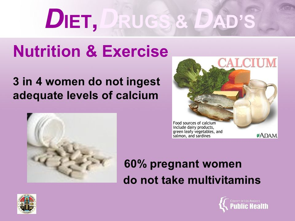 Nutrition & Exercise 3 in 4 women do not ingest adequate levels of calcium 60% pregnant women do not take multivitamins D IET, D RUGS & D AD'S