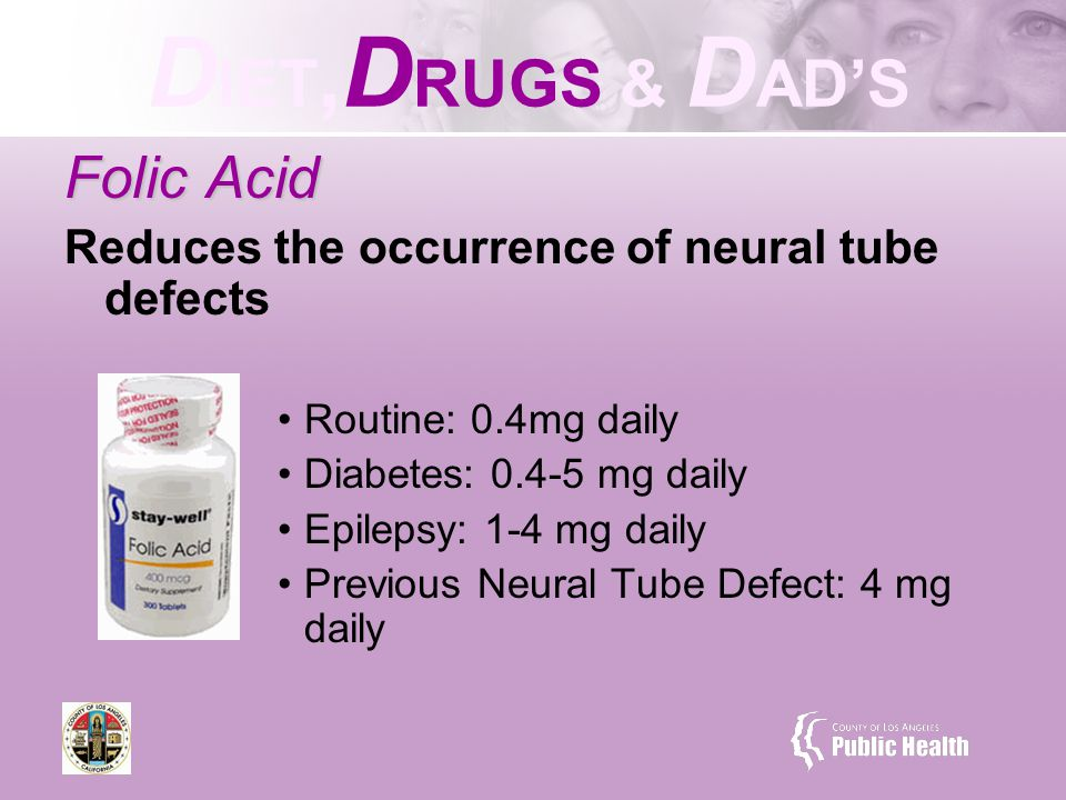 D IET, D RUGS & D AD'S Folic Acid Reduces the occurrence of neural tube defects Routine: 0.4mg daily Diabetes: 0.4-5 mg daily Epilepsy: 1-4 mg daily Previous Neural Tube Defect: 4 mg daily