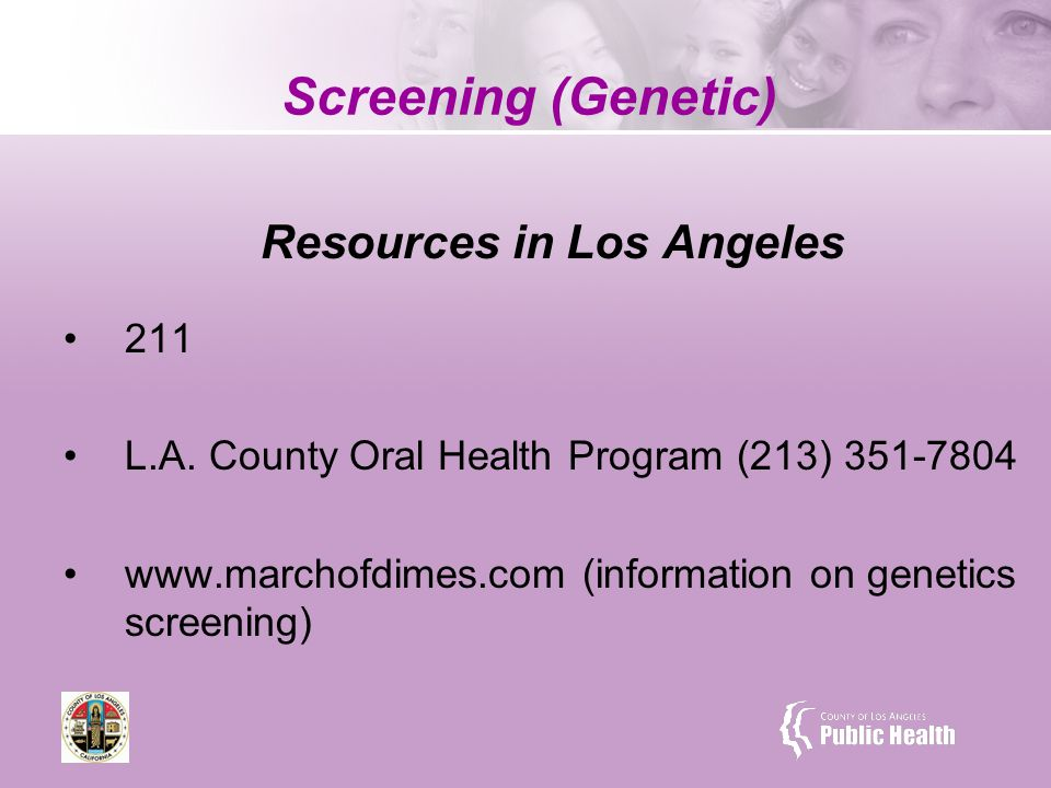 Screening (Genetic) Resources in Los Angeles 211 L.A.