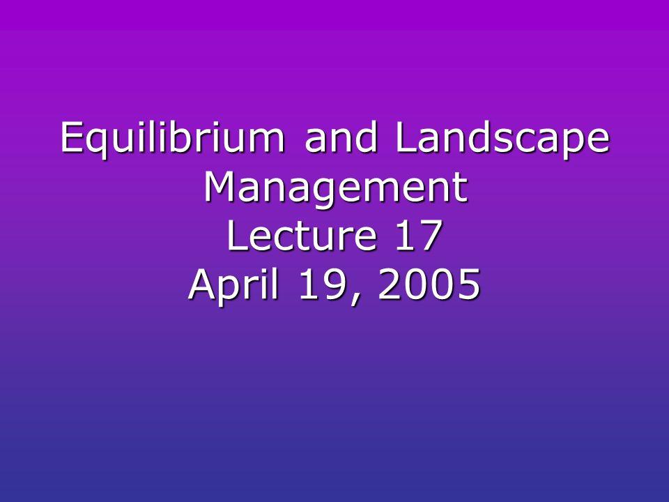 Equilibrium and Landscape Management Lecture 17 April 19, 2005