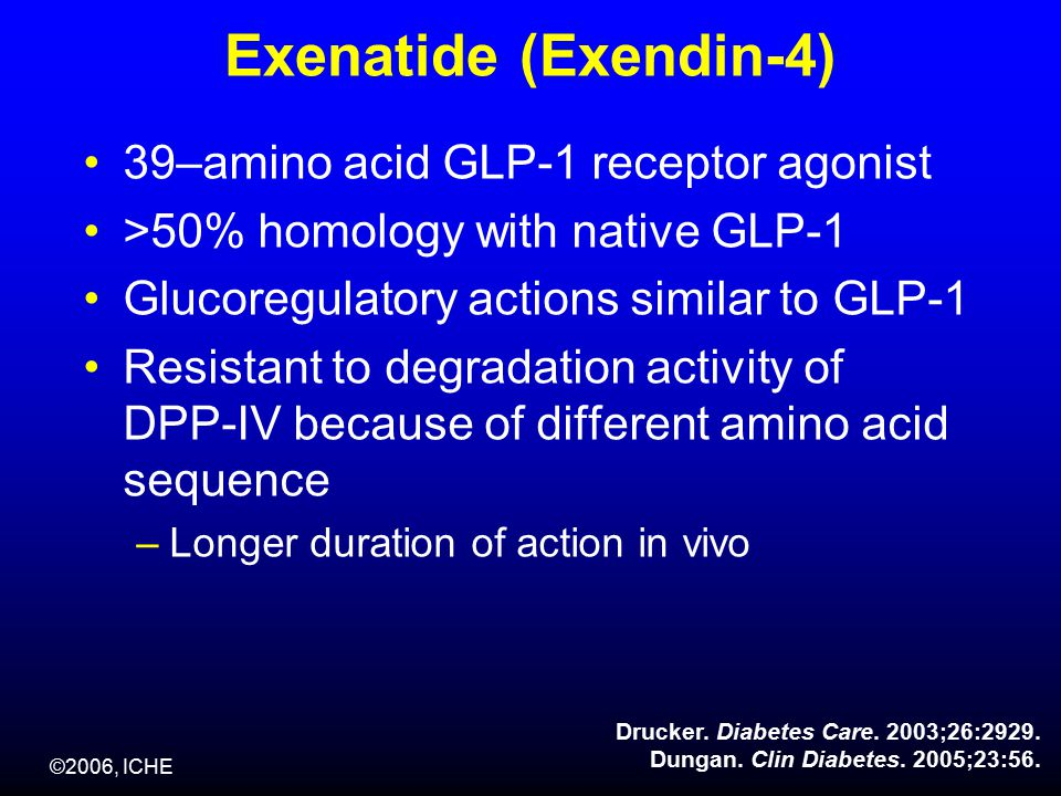 ©2006, ICHE Exenatide (Exendin-4) 39–amino acid GLP-1 receptor agonist >50% homology with native GLP-1 Glucoregulatory actions similar to GLP-1 Resistant to degradation activity of DPP-IV because of different amino acid sequence –Longer duration of action in vivo Drucker.