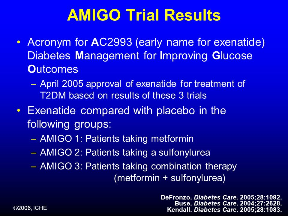 AMIGO Trial Results Acronym for AC2993 (early name for exenatide) Diabetes Management for Improving Glucose Outcomes –April 2005 approval of exenatide for treatment of T2DM based on results of these 3 trials Exenatide compared with placebo in the following groups: –AMIGO 1: Patients taking metformin –AMIGO 2: Patients taking a sulfonylurea –AMIGO 3: Patients taking combination therapy (metformin + sulfonylurea) DeFronzo.