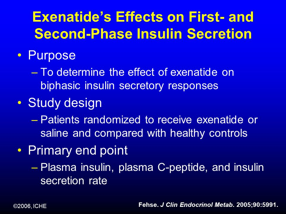 ©2006, ICHE Exenatide's Effects on First- and Second-Phase Insulin Secretion Purpose –To determine the effect of exenatide on biphasic insulin secretory responses Study design –Patients randomized to receive exenatide or saline and compared with healthy controls Primary end point –Plasma insulin, plasma C-peptide, and insulin secretion rate Fehse.