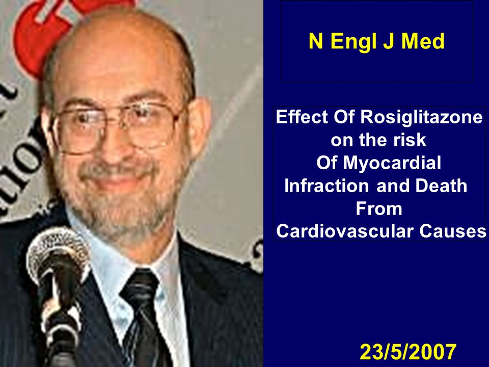 N Engl J Med 23/5/2007 Effect Of Rosiglitazone on the risk Of Myocardial Infraction and Death From Cardiovascular Causes