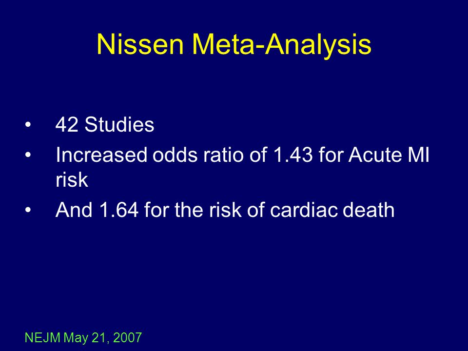 Nissen Meta-Analysis 42 Studies Increased odds ratio of 1.43 for Acute MI risk And 1.64 for the risk of cardiac death NEJM May 21, 2007