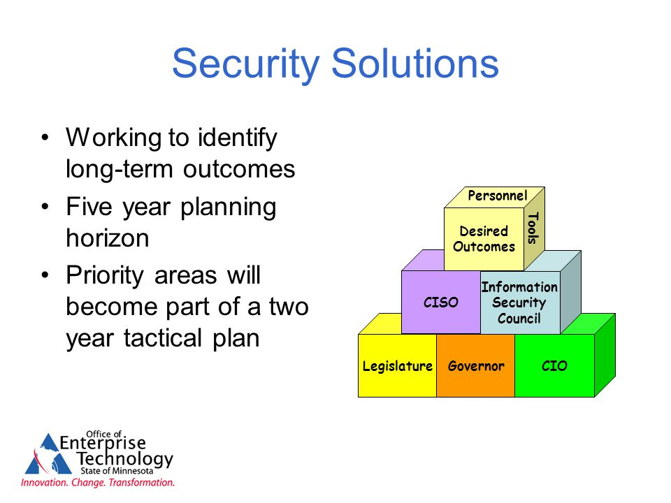 Security Solutions Working to identify long-term outcomes Five year planning horizon Priority areas will become part of a two year tactical plan LegislatureGovernorCIO CISO Information Security Council Desired Outcomes Personnel Tools