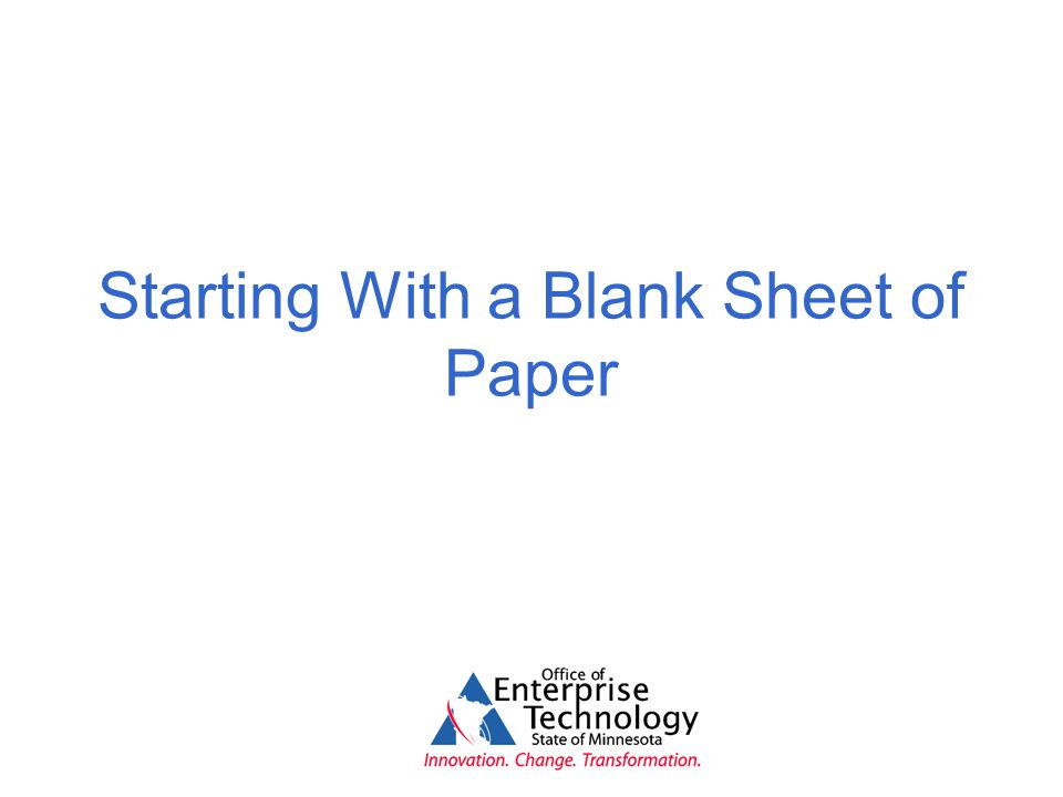 Starting With a Blank Sheet of Paper