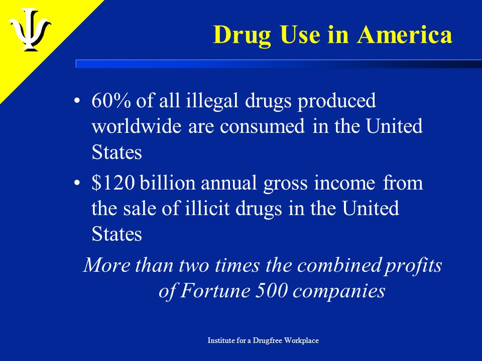 Drug Use in America 60% of all illegal drugs produced worldwide are consumed in the United States $120 billion annual gross income from the sale of illicit drugs in the United States More than two times the combined profits of Fortune 500 companies Institute for a Drugfree Workplace