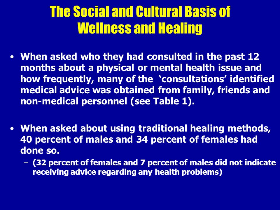 The Social and Cultural Basis of Wellness and Healing When asked who they had consulted in the past 12 months about a physical or mental health issue and how frequently, many of the 'consultations' identified medical advice was obtained from family, friends and non-medical personnel (see Table 1).