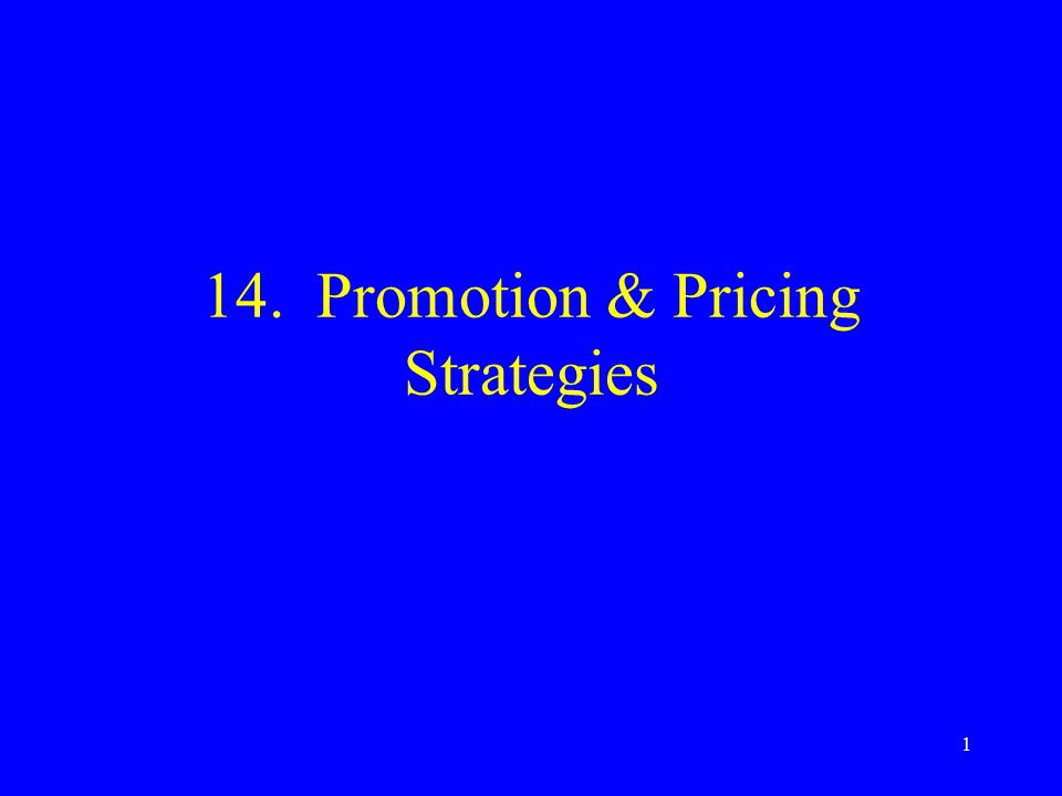 1 14. Promotion & Pricing Strategies