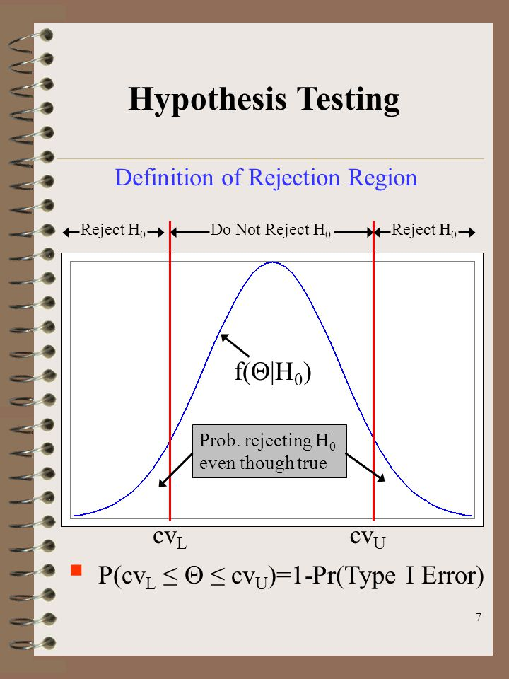 7 Hypothesis Testing Definition of Rejection Region  P(cv L ≤  ≤ cv U )=1-Pr(Type I Error) cv L cv U Do Not Reject H 0 Reject H 0 f(  |H 0 ) Prob.