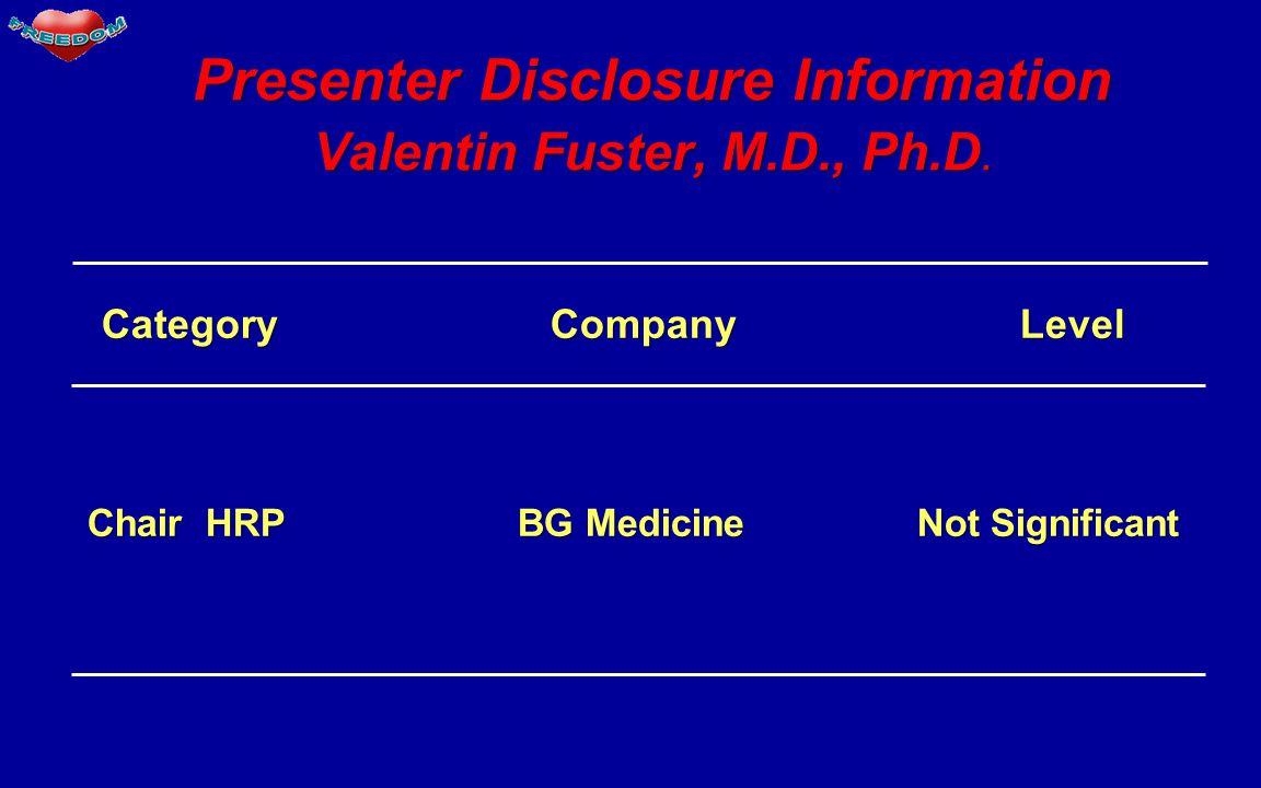 Category Company Level Category Company Level Chair HRP BG Medicine Not Significant Chair HRP BG Medicine Not Significant Presenter Disclosure Information Valentin Fuster, M.D., Ph.D.