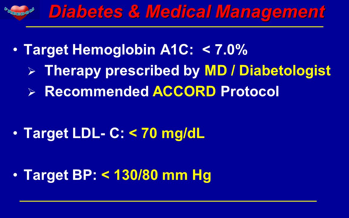 Diabetes & Medical Management Target Hemoglobin A1C: < 7.0%  Therapy prescribed by MD / Diabetologist  Recommended ACCORD Protocol Target LDL- C: < 70 mg/dL Target BP: < 130/80 mm Hg